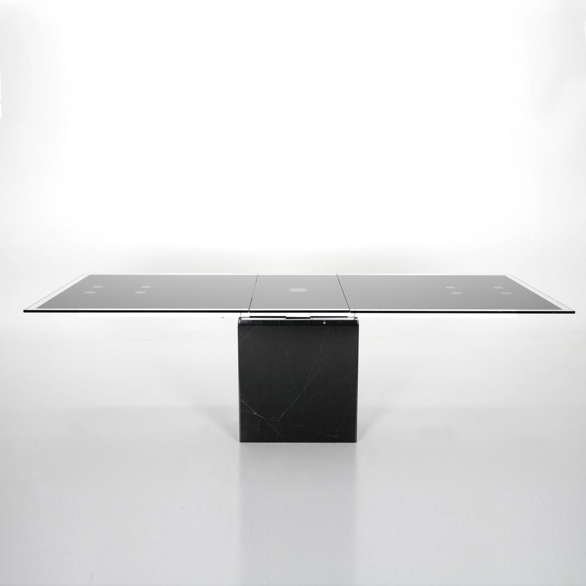 Esstisch flavio tisch mit marmor fu in schwarz glas neu ebay for Esstisch glas schwarz