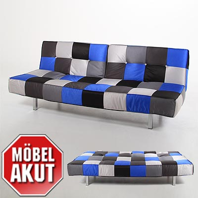 sofa jaxon schlafsofa bettfunktion patchwork blau. Black Bedroom Furniture Sets. Home Design Ideas