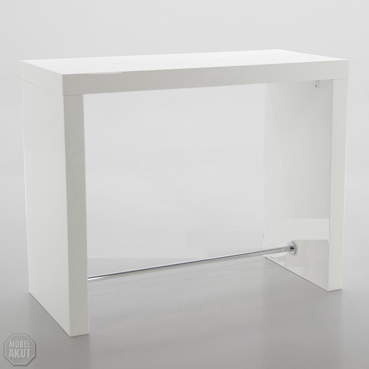 bartisch block tisch hochtisch in wei hochglanz lackiert. Black Bedroom Furniture Sets. Home Design Ideas