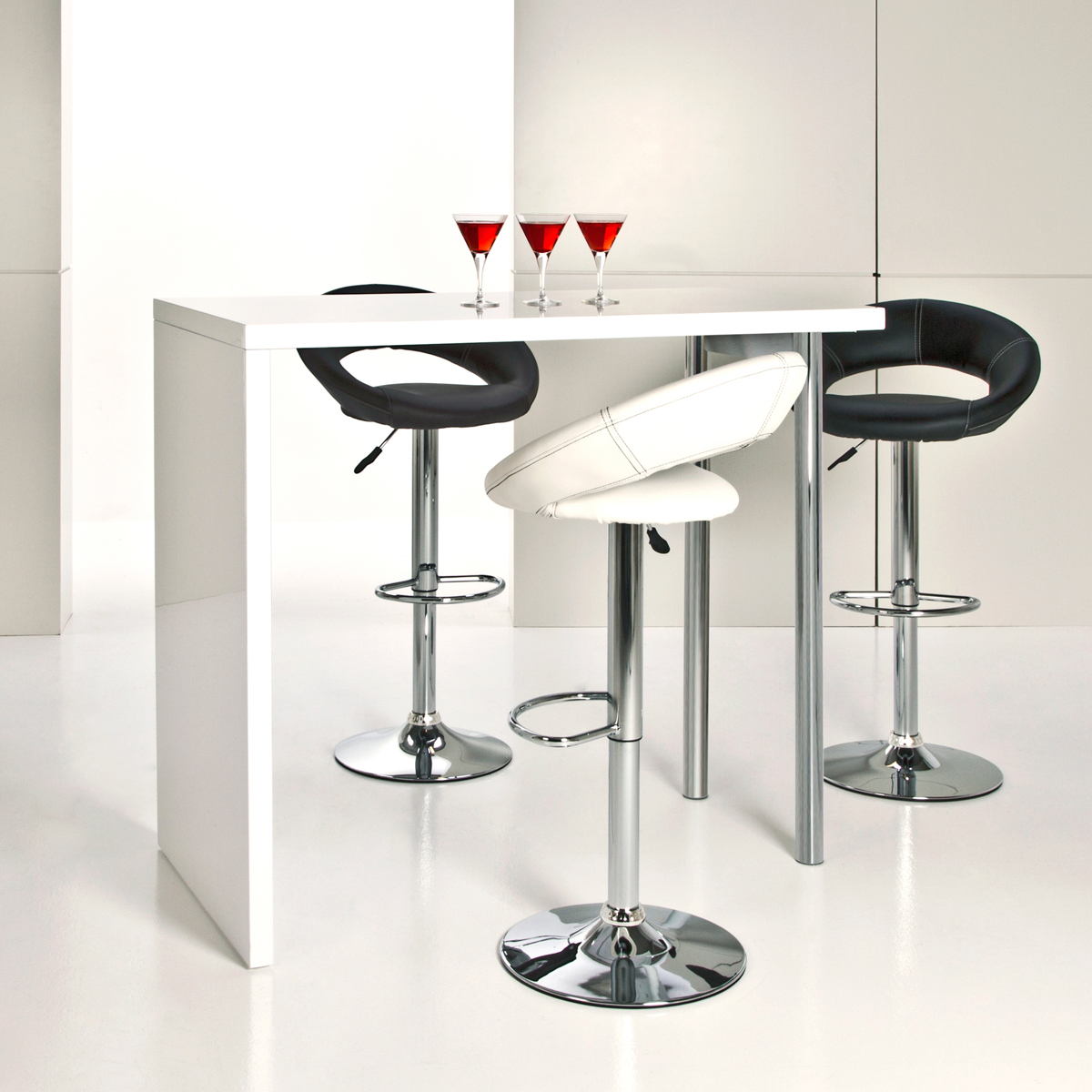 bartisch budgie hochtisch tisch in wei hochglanz chrom 120 cm ebay. Black Bedroom Furniture Sets. Home Design Ideas