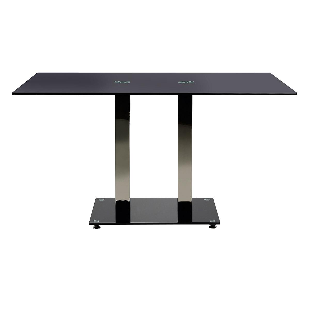 esstisch elkin esszimmertisch k chentisch 140x80 schwarz glas mit stahlgestell eur 149 95. Black Bedroom Furniture Sets. Home Design Ideas
