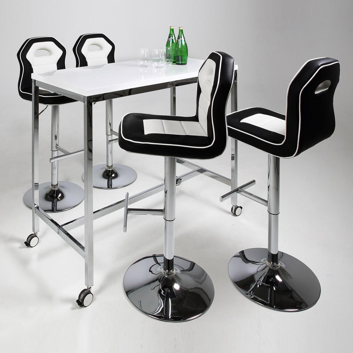 bar set roy penguin bartisch barhocker wei hochglanz. Black Bedroom Furniture Sets. Home Design Ideas