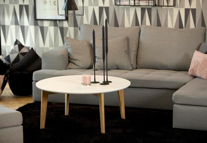 Details zu Couchtisch Abin Wohnzimmer Tisch Platte rund weiß lackiert ...