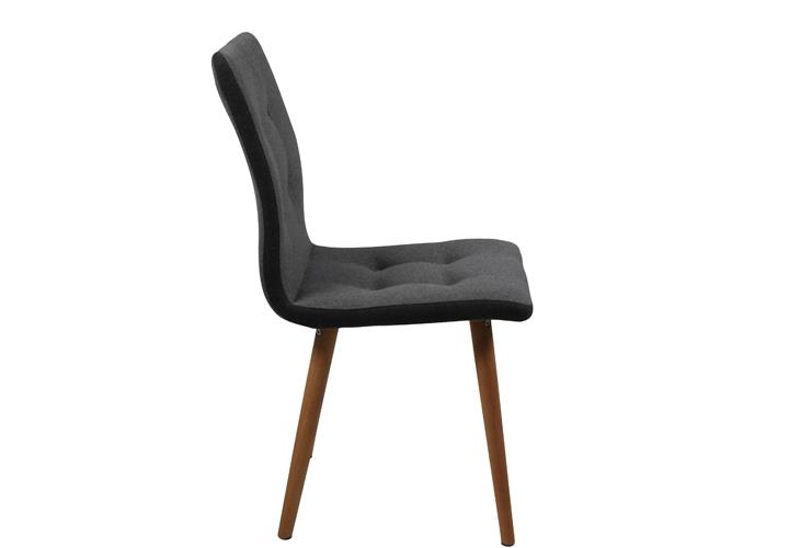 Stuhl frida 2er set retro polsterstuhl in hellgrau beine for Stuhl 4 beine