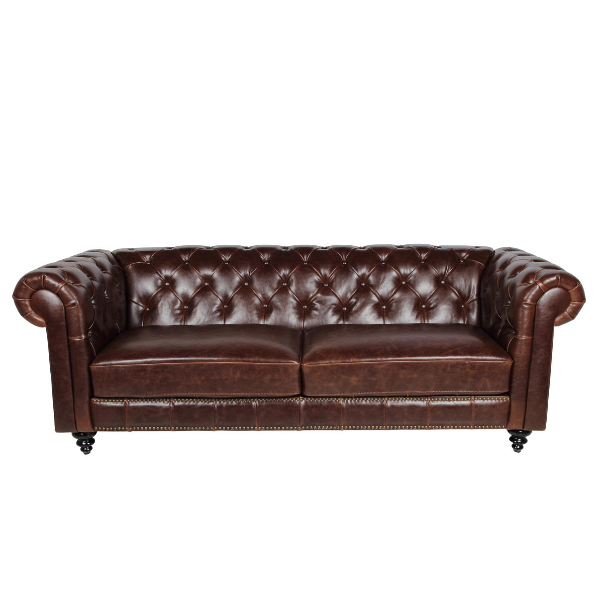 sofa 3 sitzer charlietown polstersofa antik bycast leder braun chesterfield stil ebay. Black Bedroom Furniture Sets. Home Design Ideas