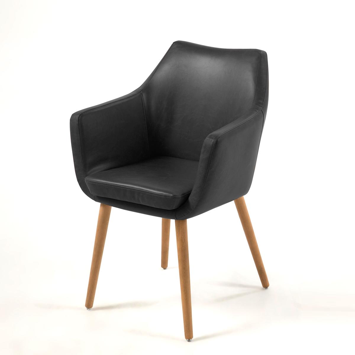 Stuhl Nora Esszimmer Armlehnenstuhl Sessel in Vintage schwarz Gestell Eiche   eBay