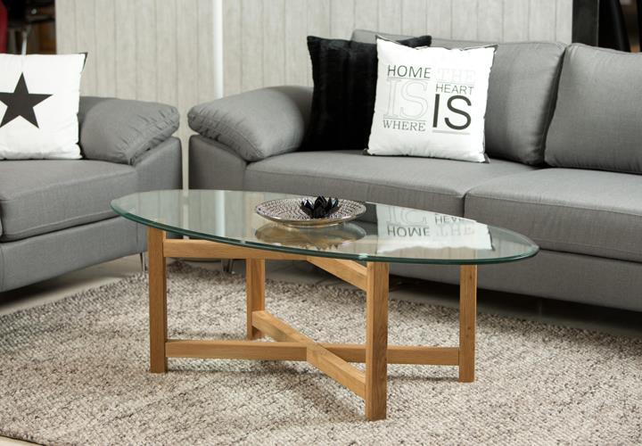 Couchtisch Melia Wohnzimmer Tisch Holzgestell Eiche Massiv