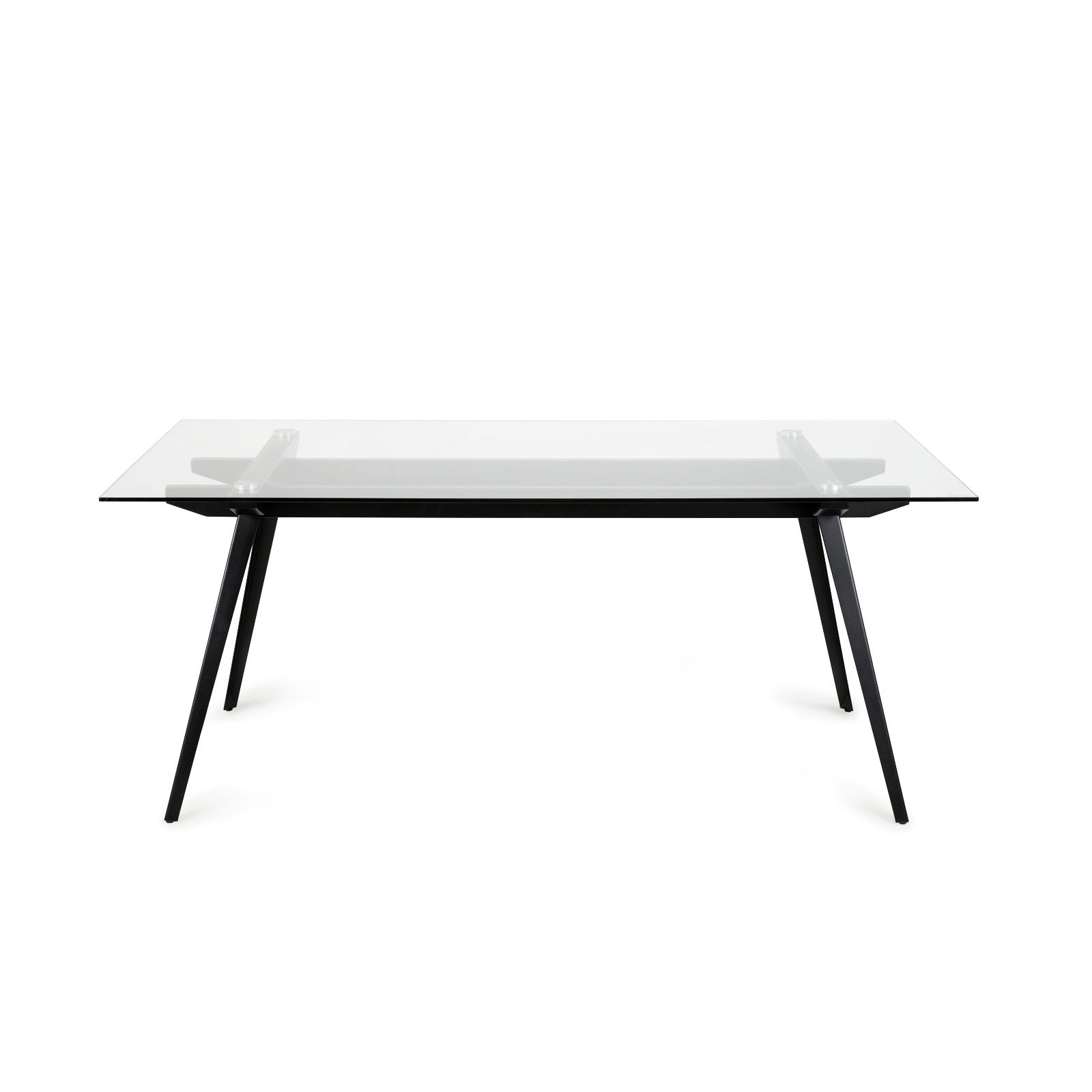 esstisch monti wohnzimmer tisch platte glas gestell aus metall schwarz 180x90 cm ebay. Black Bedroom Furniture Sets. Home Design Ideas