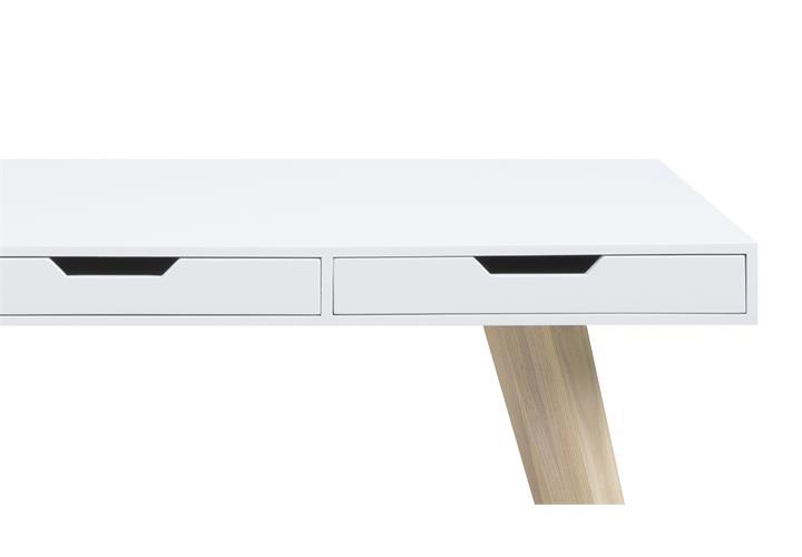 schreibtisch estelle b ro arbeitstisch wei lackiert beine esche massiv 140x60 ebay. Black Bedroom Furniture Sets. Home Design Ideas