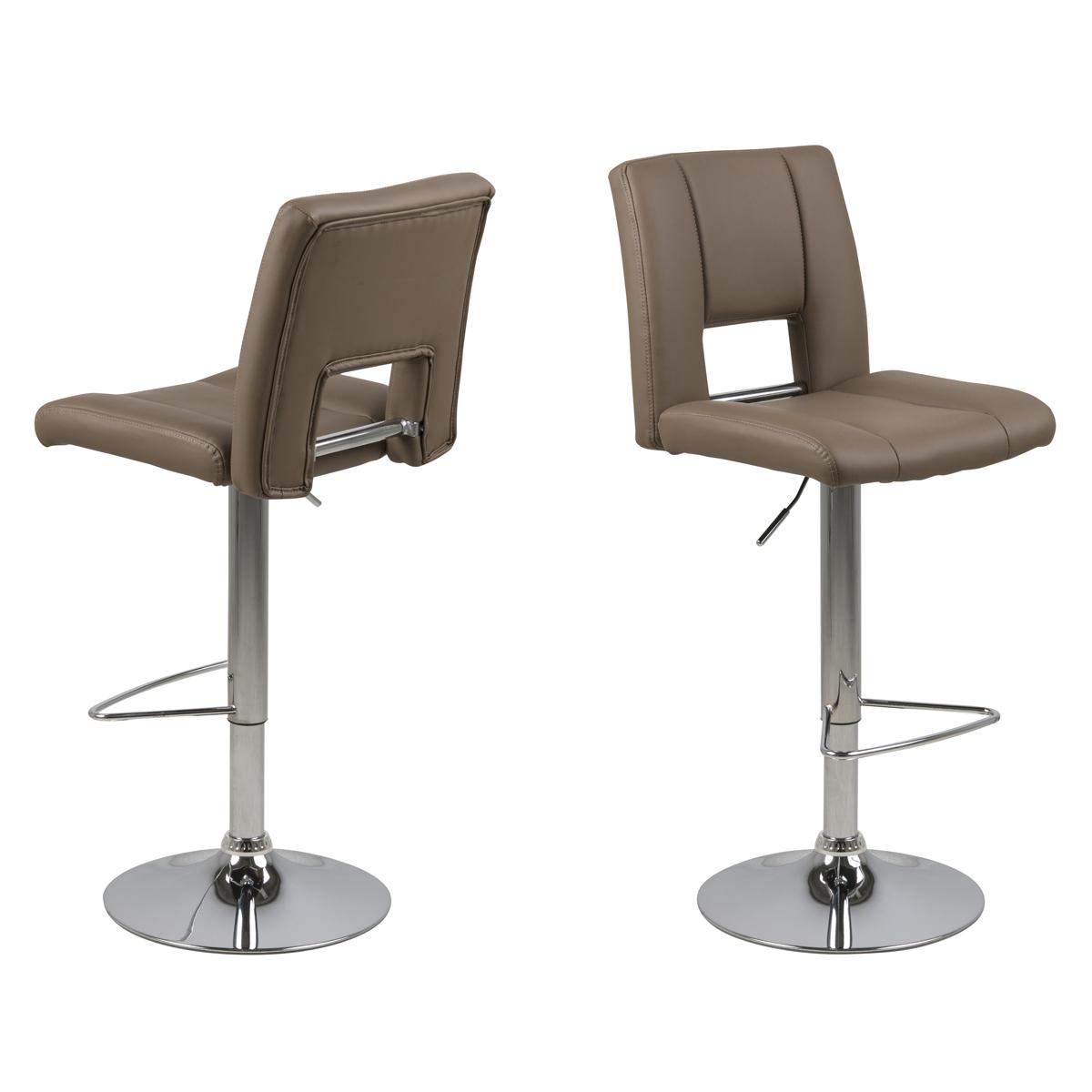 2er set barhocker sylvia in lederlook und chrom bar stuhl for Bar und hocker
