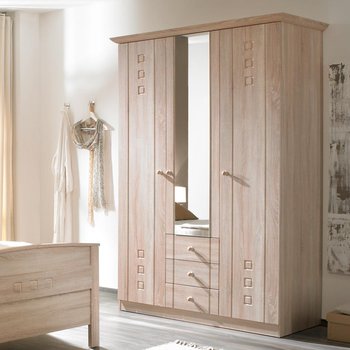kleiderschrank curanum schrank 3 t rig mit spiegel seniorenzimmer eiche sonoma ebay. Black Bedroom Furniture Sets. Home Design Ideas