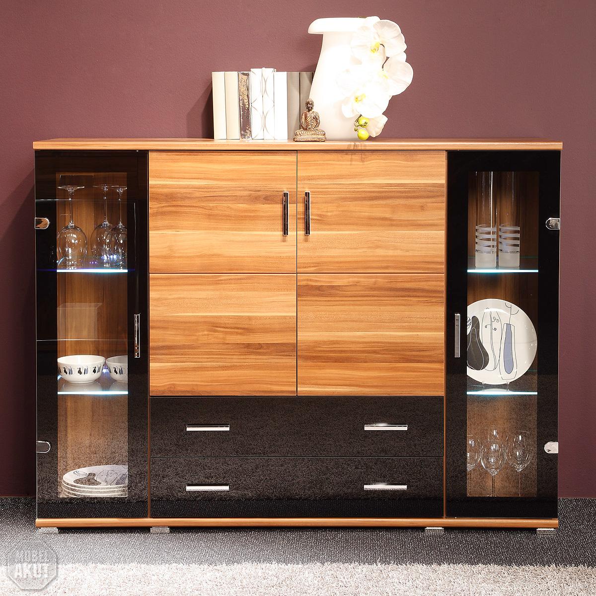 highboard free in nussbaum und schwarz inkl led neu ebay. Black Bedroom Furniture Sets. Home Design Ideas