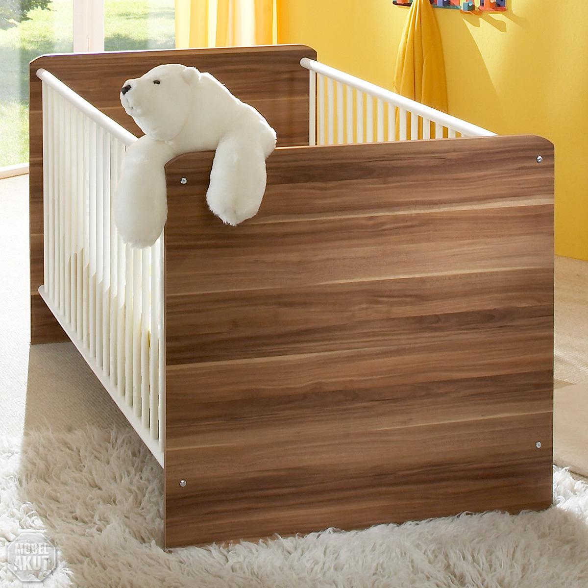 babybett vicky bett in wei walnuss babyzimmer ebay. Black Bedroom Furniture Sets. Home Design Ideas