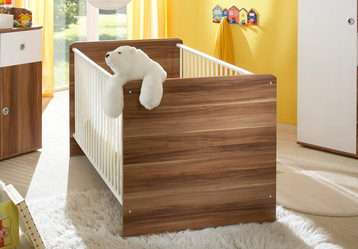 babyzimmer wiki 3 tlg in wei und walnuss babybett wickelkommode kleiderschrank ebay. Black Bedroom Furniture Sets. Home Design Ideas