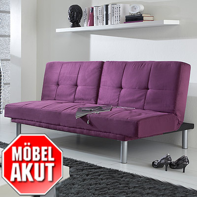 schlafsofa lina sofa in lila mit bettfunktion neu eur 119 00 picclick de. Black Bedroom Furniture Sets. Home Design Ideas