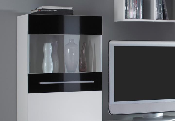 Wohnwand abano in wei und schwarz gl nzend moderne for Moderne anbauwand