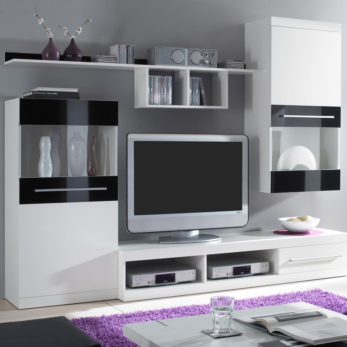 Wohnwand Abano in weiß und schwarz glänzend moderne Anbauwand mit TV ...
