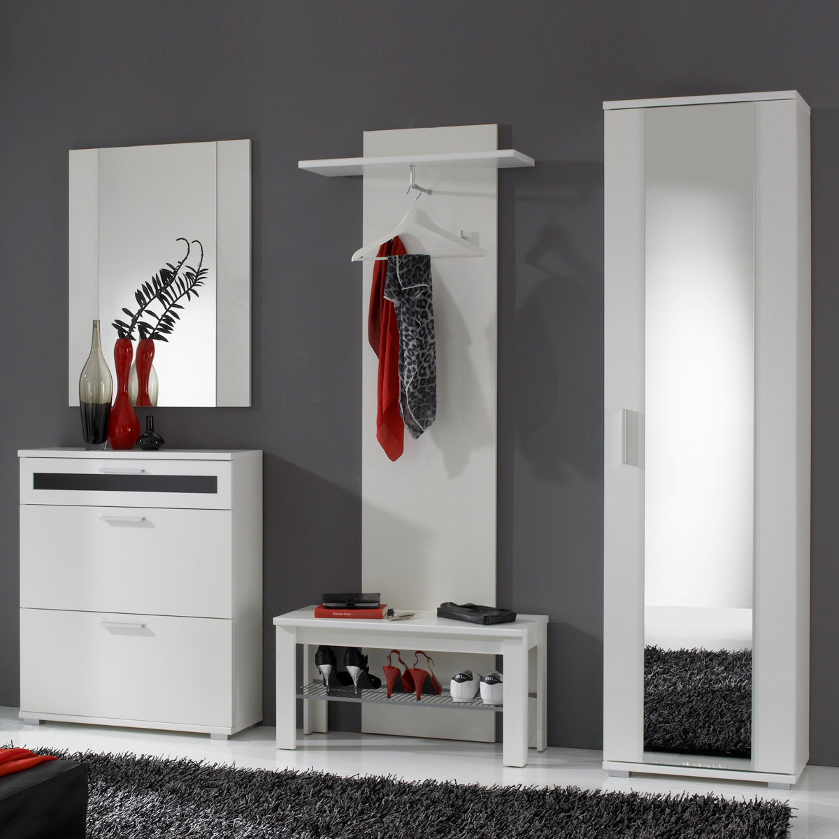 garderobe solido set mit flur schrank schuhkommode wandpaneel schuhbank in wei. Black Bedroom Furniture Sets. Home Design Ideas
