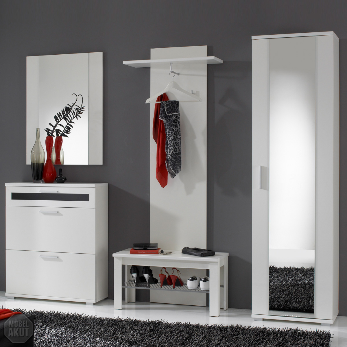 garderoben set delia flurm bel in wei dielenm bel ebay. Black Bedroom Furniture Sets. Home Design Ideas