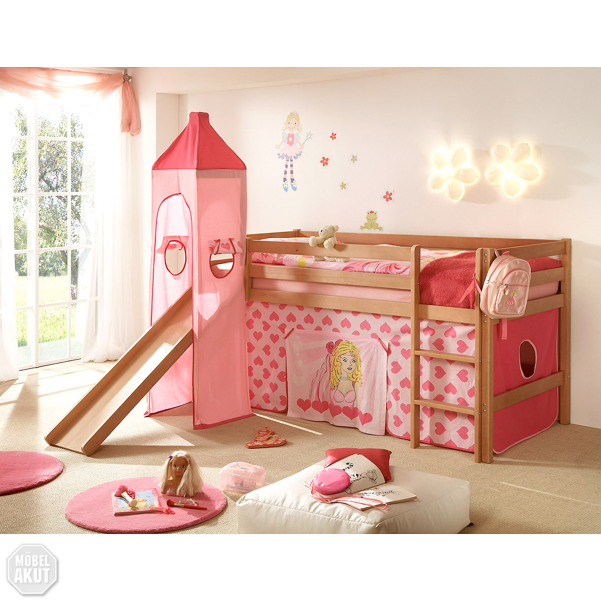 hochbett snoopy kinderbett etagenbett in buche massiv turm rutsche vorhang ebay. Black Bedroom Furniture Sets. Home Design Ideas