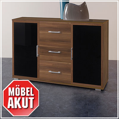 sideboard meras kommode in walnuss schwarz neu ebay. Black Bedroom Furniture Sets. Home Design Ideas