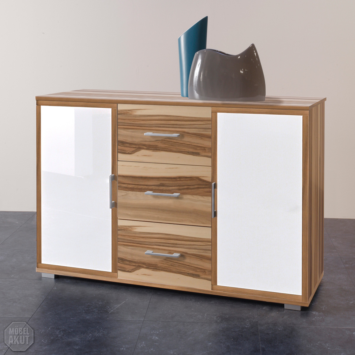 sideboard meras kommode in baltimore walnuss wei neu ebay. Black Bedroom Furniture Sets. Home Design Ideas