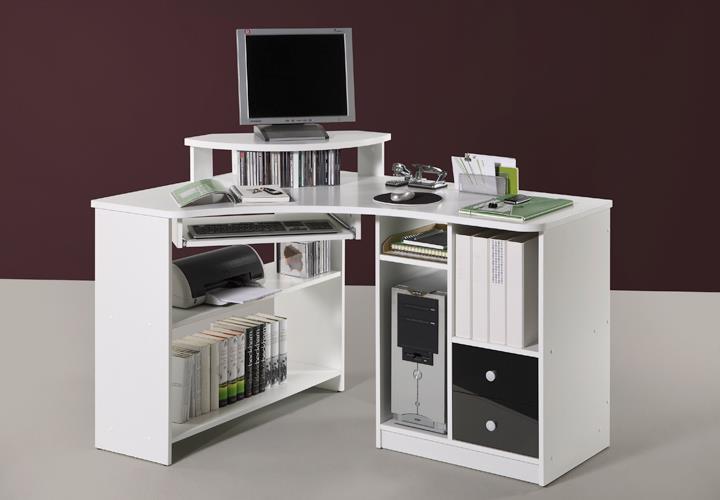 Eckschreibtisch weiß mit aufsatz  Eckschreibtisch Tanga Computer PC Schreibtisch Büro Jugendzimmer ...