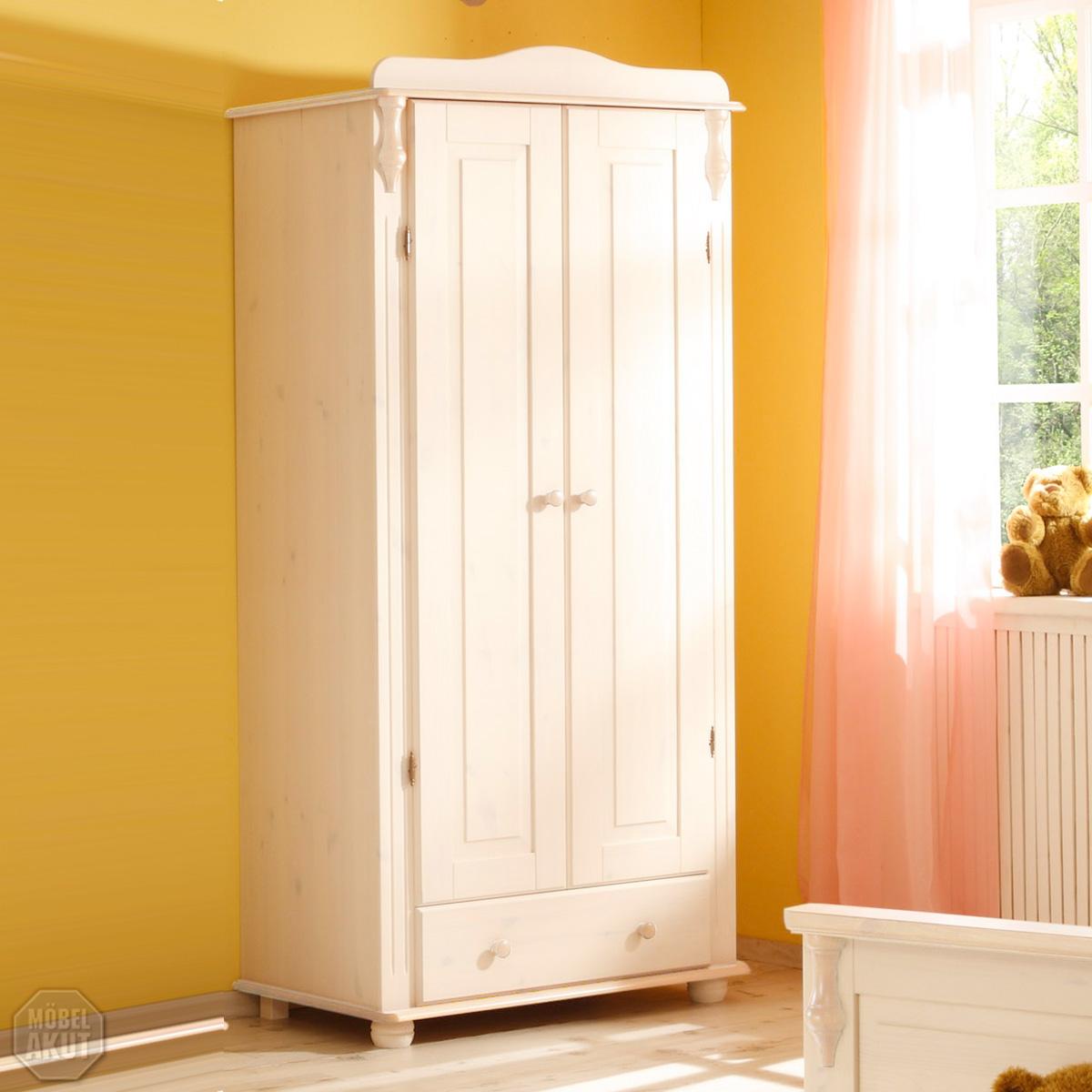 kleiderschrank lola schrank kiefer massiv wei neu ebay. Black Bedroom Furniture Sets. Home Design Ideas