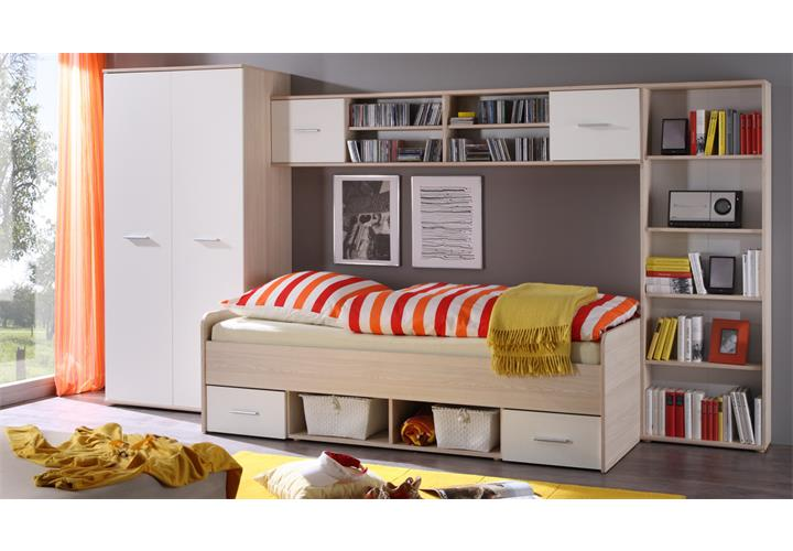 jugendzimmer nanu 4 teilig bett 90x200 bettbr cke kleiderschrank standregal eur 299 95. Black Bedroom Furniture Sets. Home Design Ideas