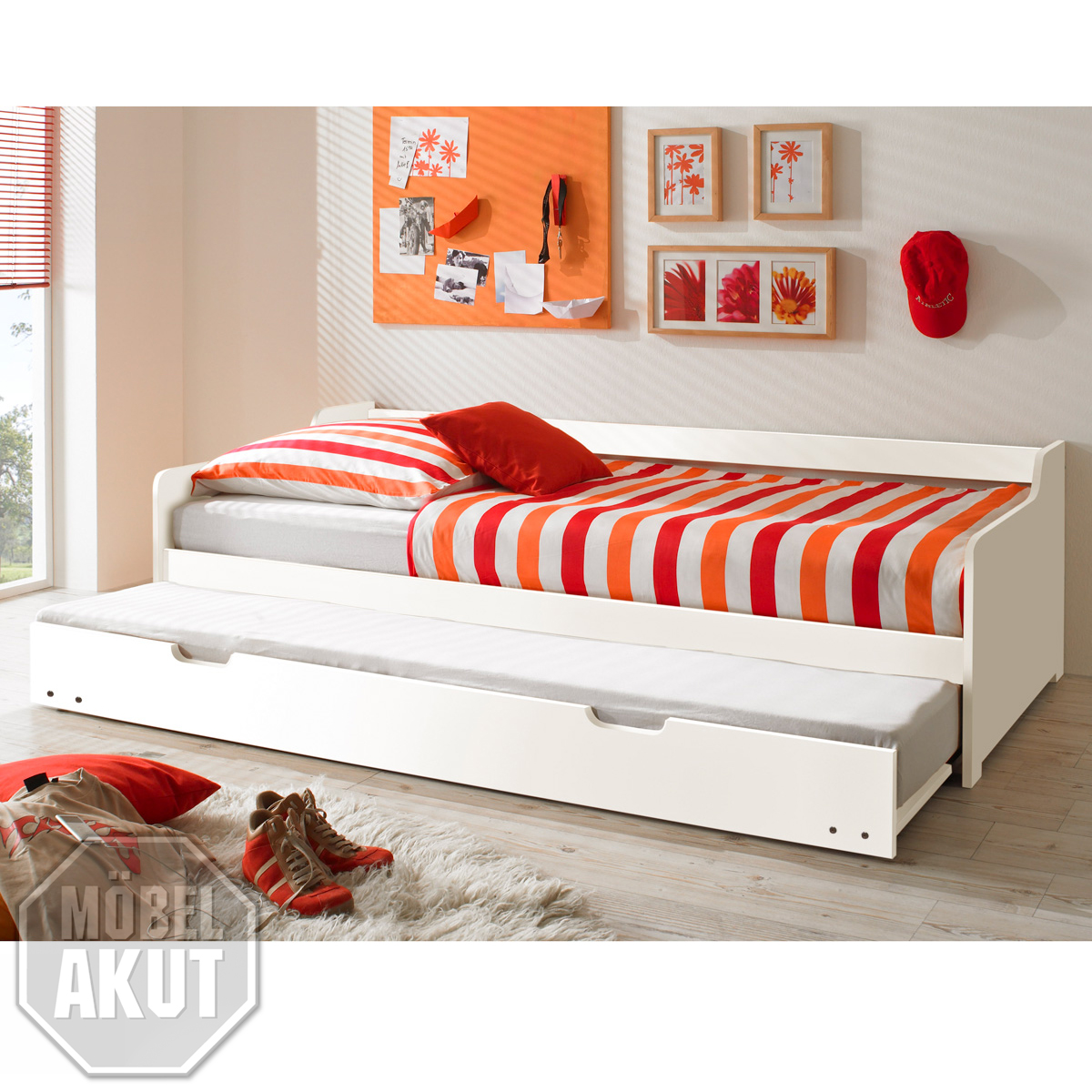 tandemliege bonno bett in kiefer massiv wei 90x200 ebay. Black Bedroom Furniture Sets. Home Design Ideas