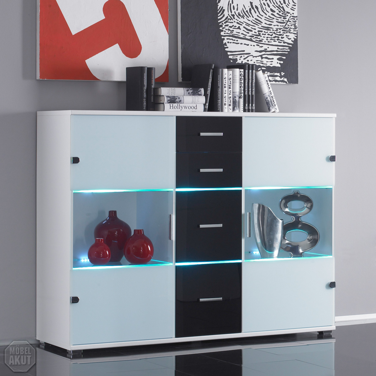 highboard spyro sideboard wei glas schwarz led ebay. Black Bedroom Furniture Sets. Home Design Ideas