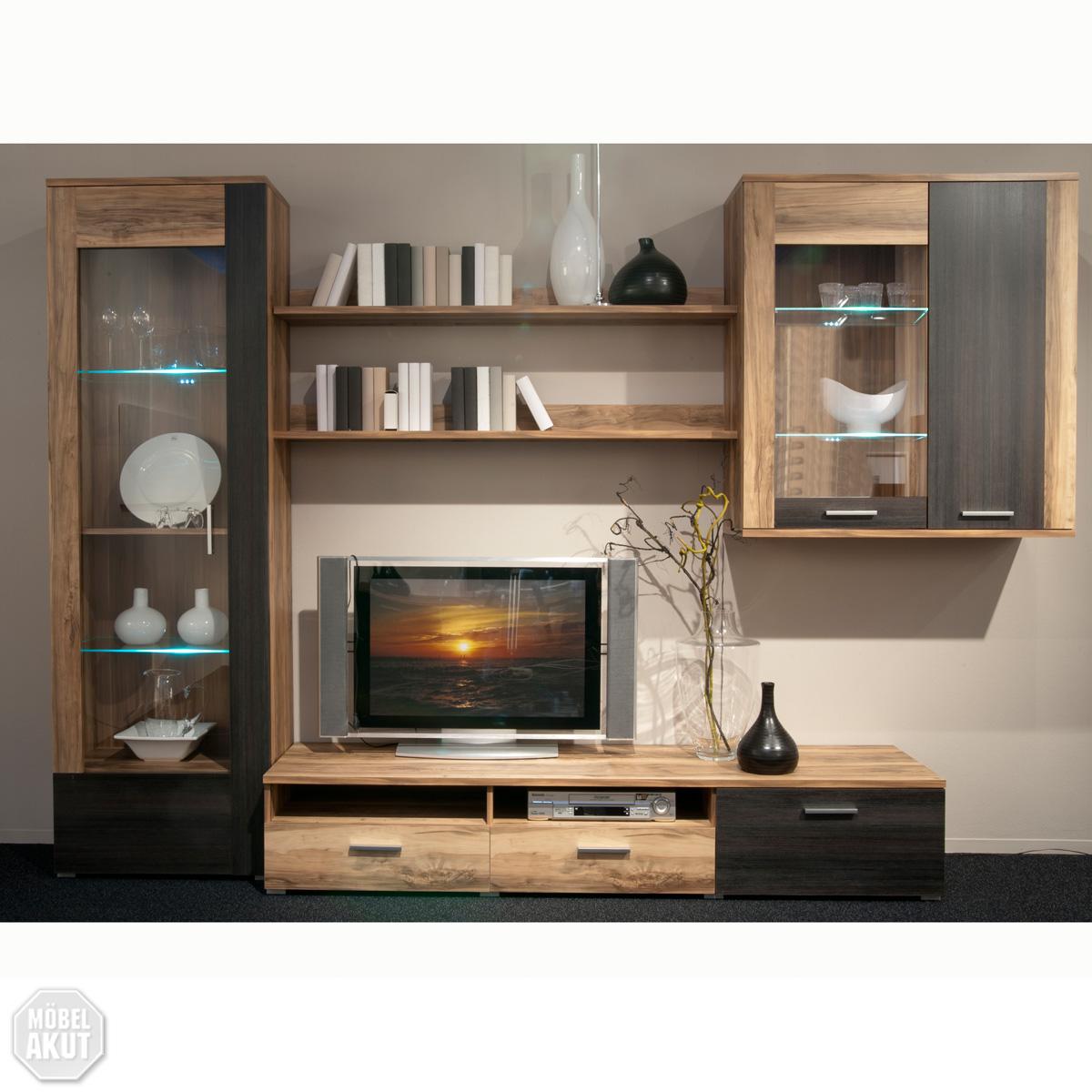 wohnwand kandy anbauwand nussbaum touchwood led ebay. Black Bedroom Furniture Sets. Home Design Ideas