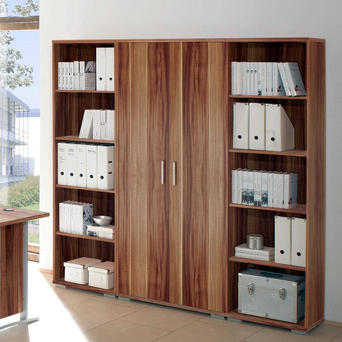 regalwand office line biz regal schrank in walnuss dekor. Black Bedroom Furniture Sets. Home Design Ideas