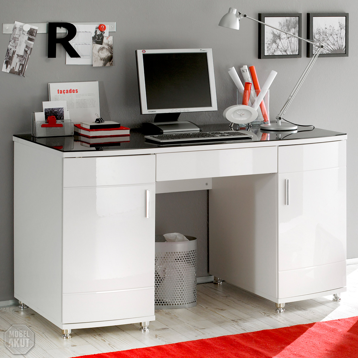 schreibtisch luxus in hochglanz wei mit glasplatte in schwarz ebay. Black Bedroom Furniture Sets. Home Design Ideas