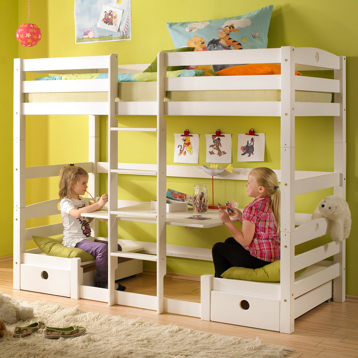 etagenbett olli hochbett kinderbett bett kiefer massiv wei wachs ebay. Black Bedroom Furniture Sets. Home Design Ideas