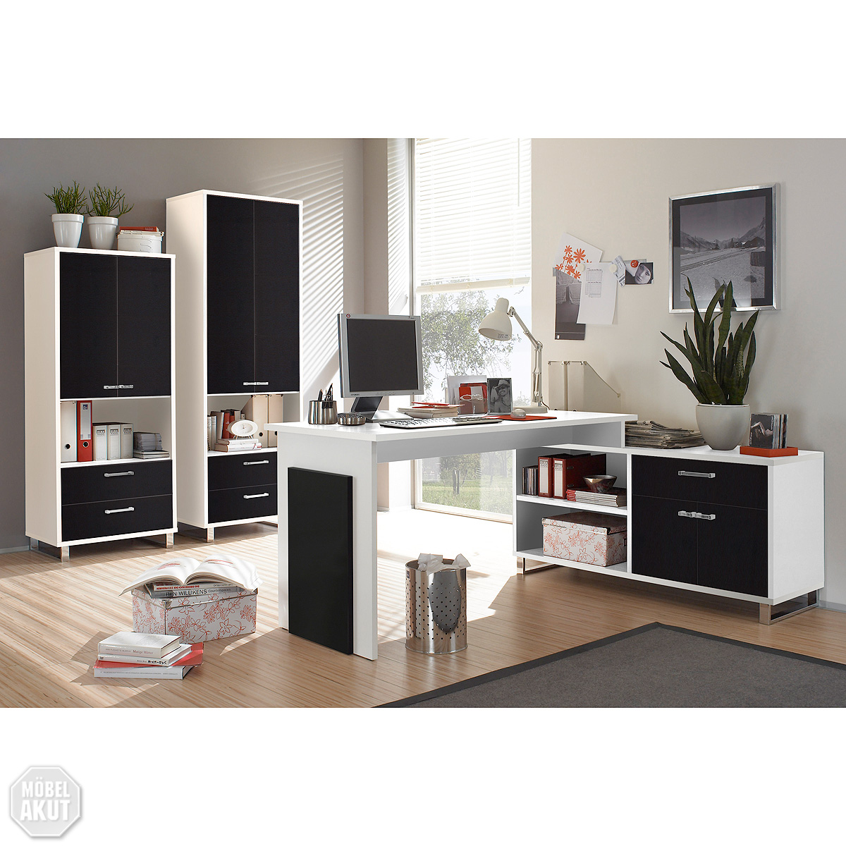 b ro set manager manga schreibtisch pc tisch aktenschrank schwarz wei ebay. Black Bedroom Furniture Sets. Home Design Ideas