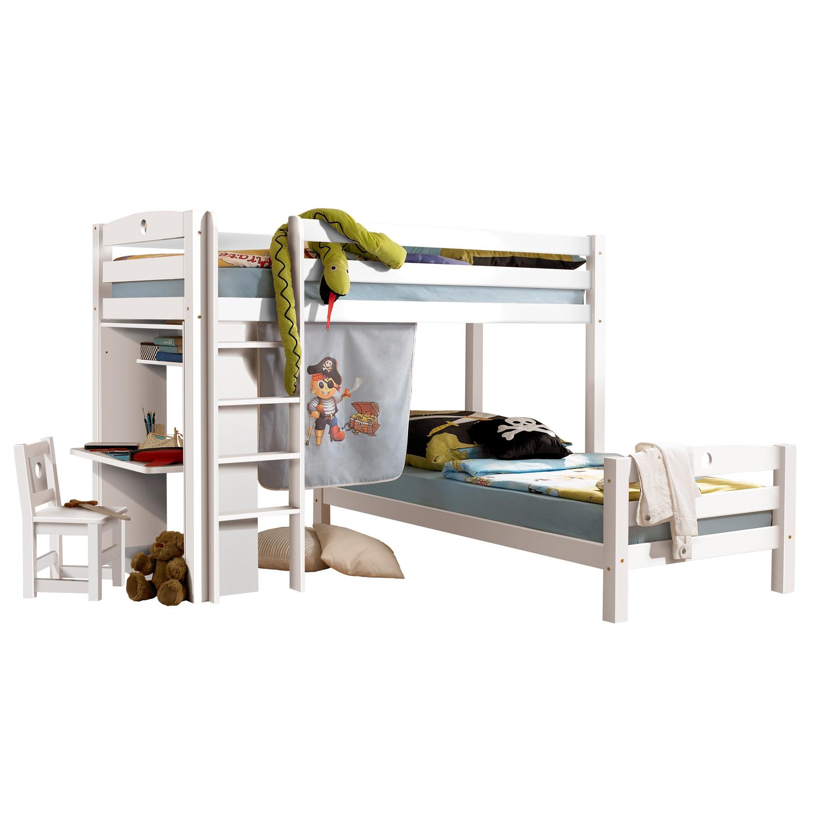 etagenbett hochbett lars larry kinderzimmer in kiefer massiv weiss ebay. Black Bedroom Furniture Sets. Home Design Ideas