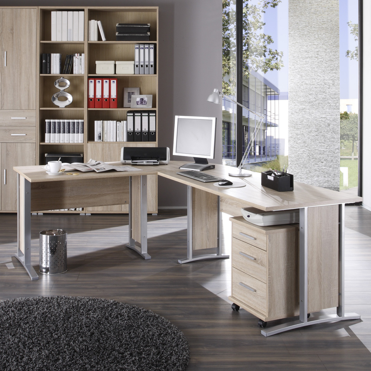 winkelschreibtisch office line biz schreibtisch kombination sonoma eiche ebay. Black Bedroom Furniture Sets. Home Design Ideas