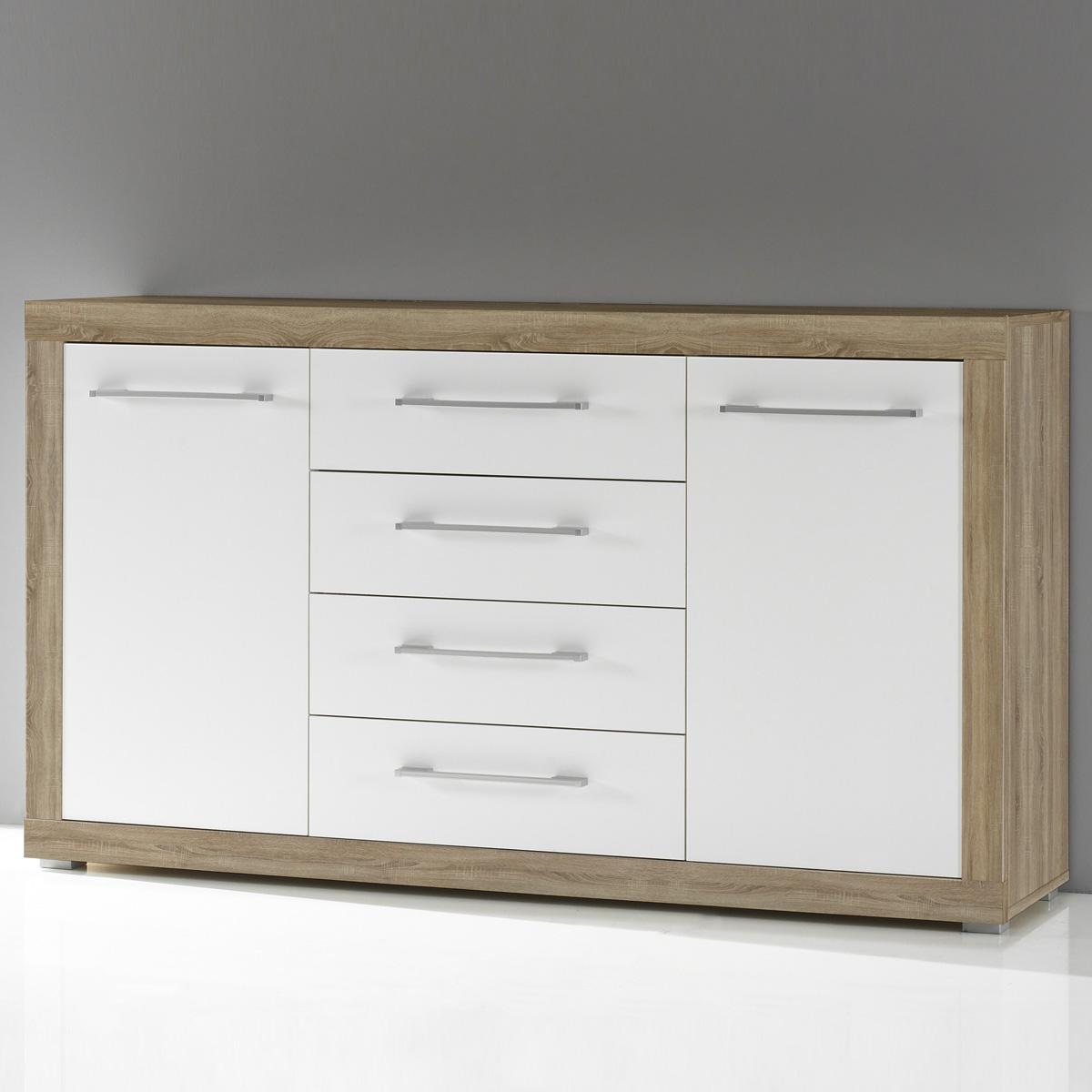 sideboard cabo in sonoma eiche s gerau und wei glanz. Black Bedroom Furniture Sets. Home Design Ideas