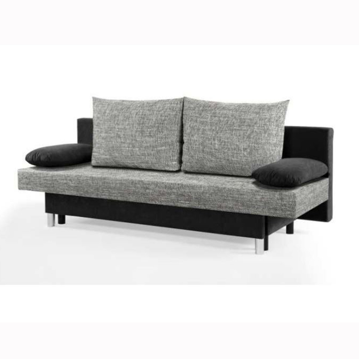 schlafsofa jelly sofa mit bettkasten in schwarz und grau ebay. Black Bedroom Furniture Sets. Home Design Ideas