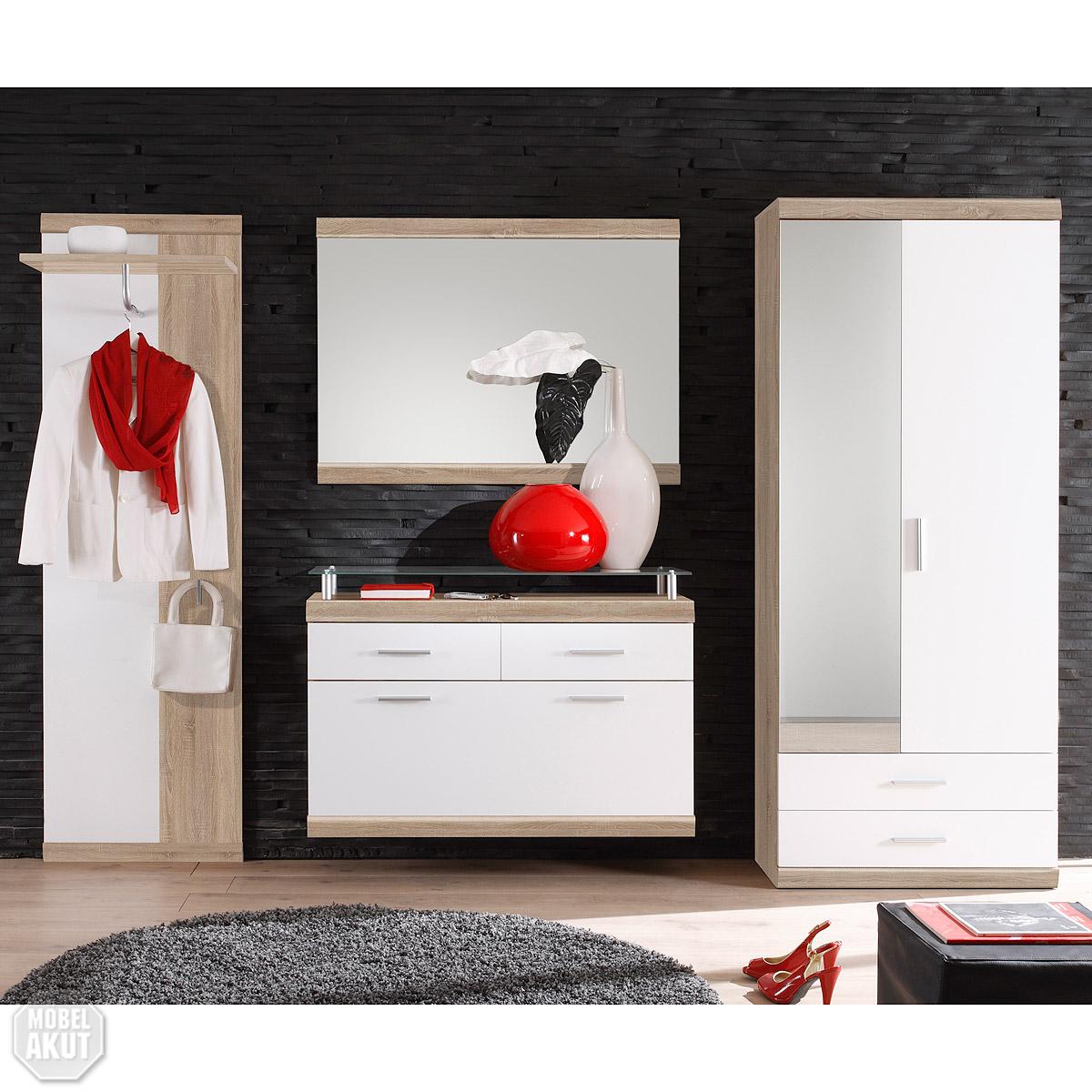4 teiliges garderoben set imperial 1 flurm bel in eiche sonoma s gerau und wei ebay. Black Bedroom Furniture Sets. Home Design Ideas