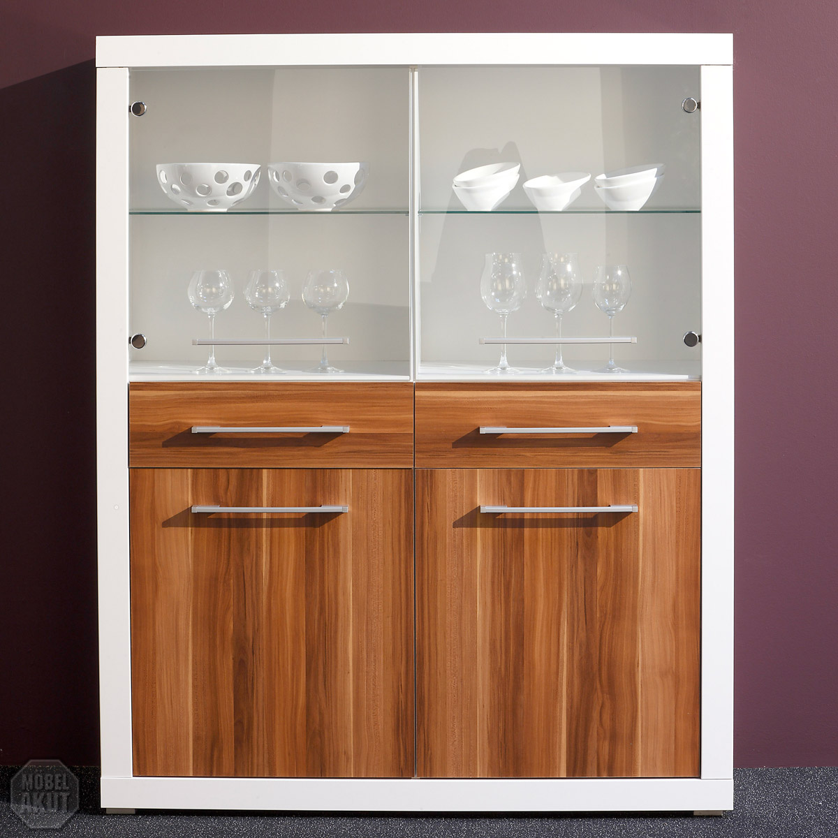 highboard cabo vitrine schrank in wei hochglanz walnuss 120x152 cm ebay. Black Bedroom Furniture Sets. Home Design Ideas