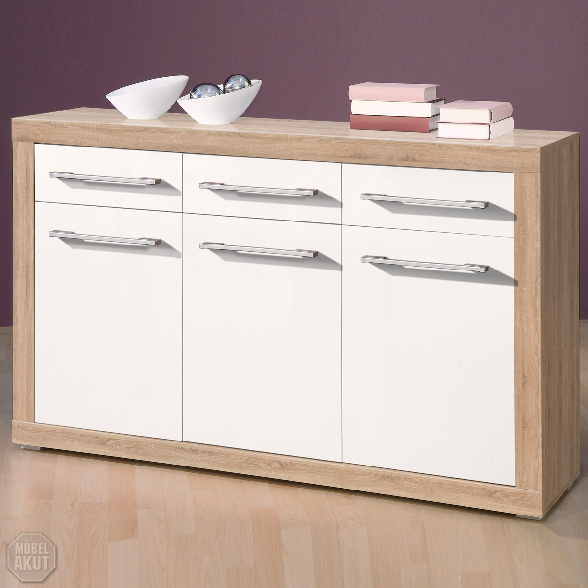 sideboard cabo kommode in sonoma eiche s gerau wei glanz 137x88 cm ebay. Black Bedroom Furniture Sets. Home Design Ideas