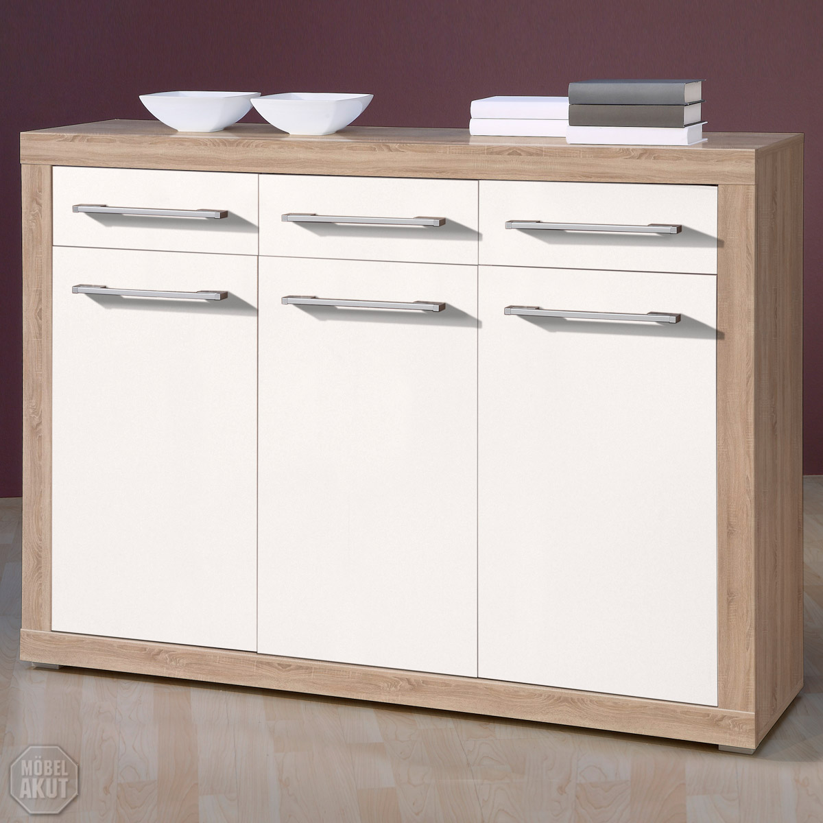 Sideboard cabo kommode in sonoma eiche sagerau weiss glanz for Sideboard sonoma eiche
