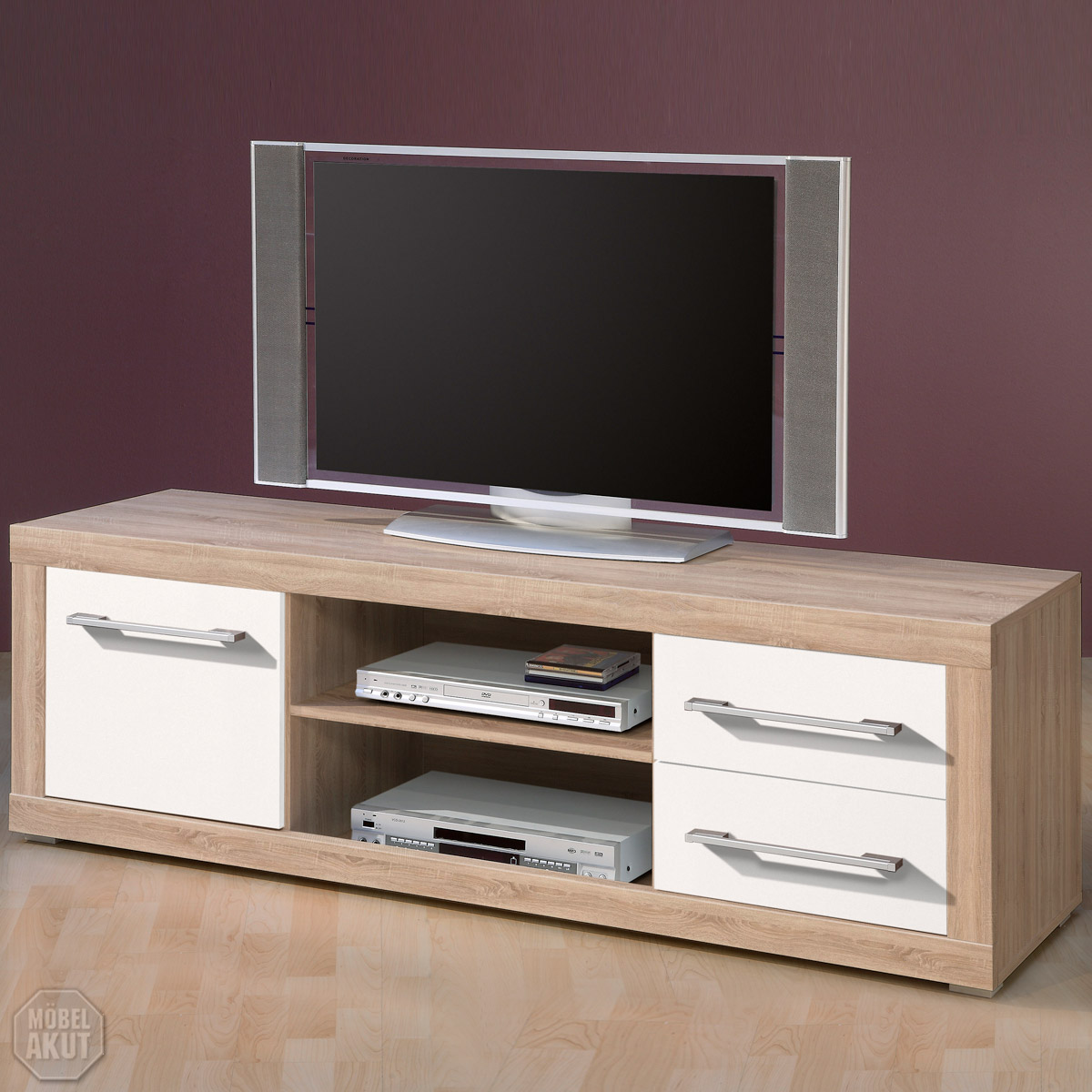 tv board cabo lowboard in sonoma eiche sagerau weiss glanz 155x52 cm ebay. Black Bedroom Furniture Sets. Home Design Ideas