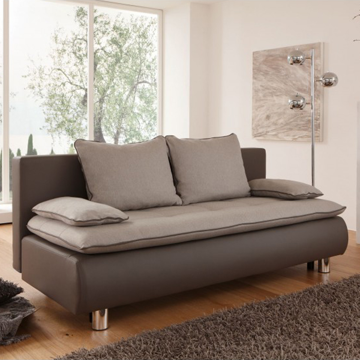 schlafsofa panem in grau schlamm und beige inkl kissen sofa funktionssofa ebay. Black Bedroom Furniture Sets. Home Design Ideas