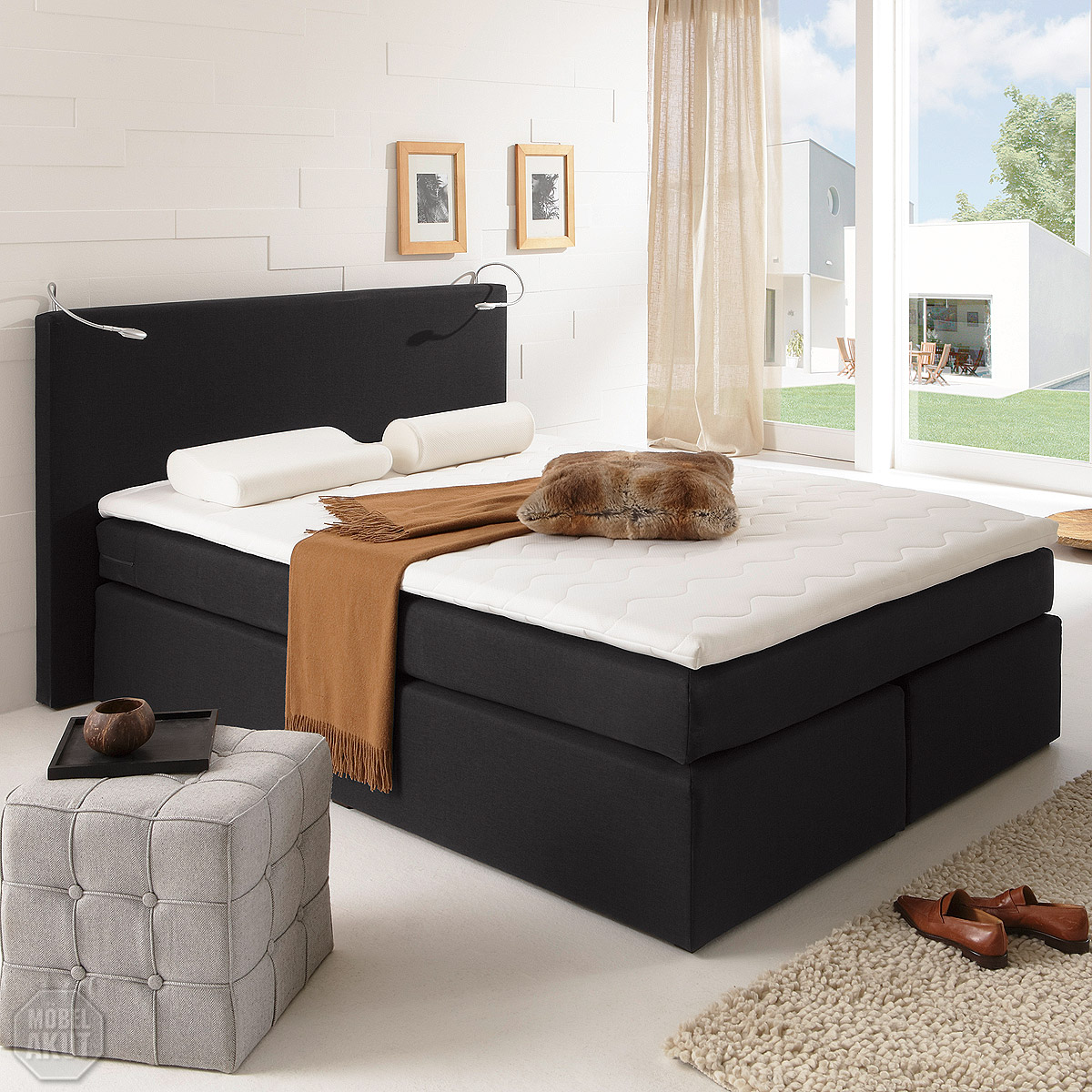 boxspring bett atlanta bett doppelbett inkl matratze schwarz 140x200 cm ebay. Black Bedroom Furniture Sets. Home Design Ideas