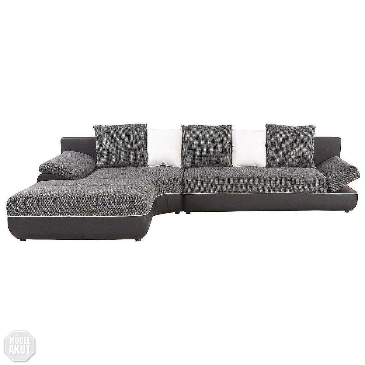wohnlandschaft konga sofa eck sofa in grau creme inkl kissen neu ebay. Black Bedroom Furniture Sets. Home Design Ideas