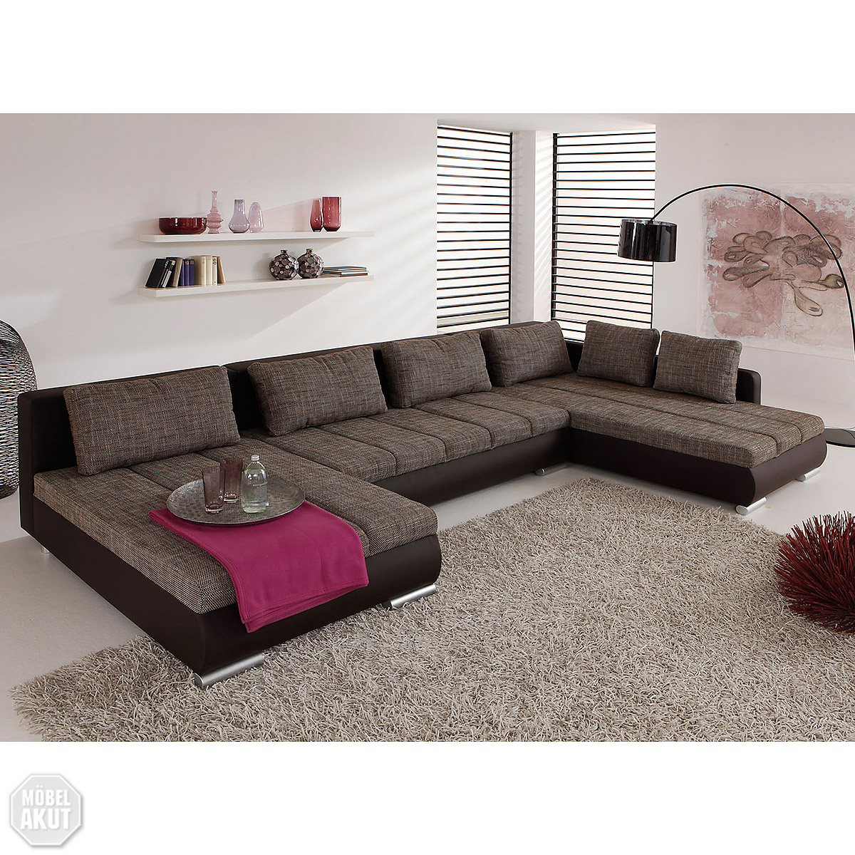 wohnlandschaft honor sofa eck sofa in braun mokka inkl kissen neu ebay. Black Bedroom Furniture Sets. Home Design Ideas