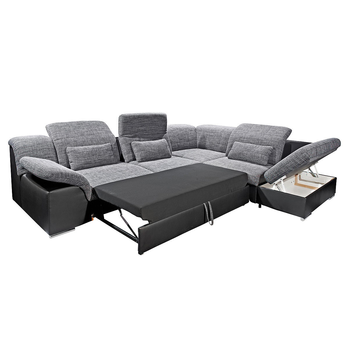 wohnlandschaft move 1 eck sofa schwarz und grau inkl. Black Bedroom Furniture Sets. Home Design Ideas